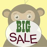 Monkey T-shirt graphics cute cartoon characters cute graphics for kids sale. Monkey T-shirt graphics cute cartoon characters cute graphics for illustrations Royalty Free Stock Images
