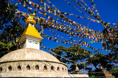 Monkey Temple with Buddhist prayer flags,kathmandu Royalty Free Stock Photo