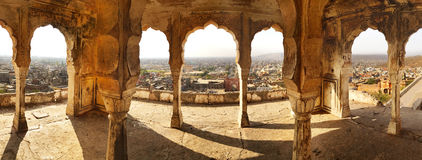 Monkey Temple, Jaipur, India. Panoramic view of Jaisalmer from the monkey temple Stock Photos