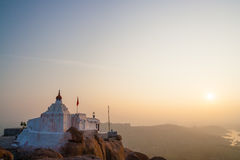 Monkey temple at sunrise hampi india Royalty Free Stock Photography
