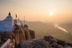 Monkey temple at sunrise hampi india Royalty Free Stock Photos