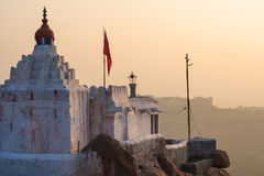 Monkey temple at sunrise hampi india Stock Photos