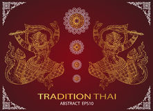 Monkey thai tradition outline Stock Images