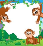 Monkey thematic frame 1 Stock Images