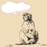 Monkey with thought bubble Stock Images