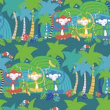 Monkey toucan jungle tropical seamless pattern vector illustration