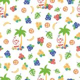 Monkey toucan tropical background vector pattern royalty free illustration