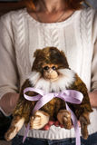 Monkey toy  with violet ribbon in the hands vertical Royalty Free Stock Photo