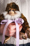 Monkey toy  with violet ribbon in the woman hands Royalty Free Stock Images