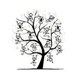 Monkey tree for your design. Symbol of 2016 year. Vector illustration Royalty Free Stock Images