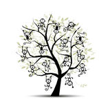 Monkey tree for your design. Symbol of 2016 year. Vector illustration Royalty Free Stock Photo