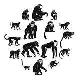 Monkey types icons set, simple style. Monkey types icons set. Simple illustration of 16 monkey types vector icons for web Stock Illustration