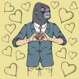 Monkey Valentine day vector concept Royalty Free Stock Photo
