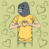 Monkey Valentine day vector concept Royalty Free Stock Images