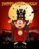Monkey vampire with castle background for happy halloween vector illustration Royalty Free Stock Images