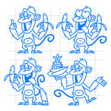 Monkey in various poses doodle Royalty Free Stock Photos