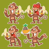 Monkey in various poses stickers Stock Photos