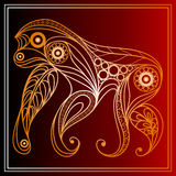 Monkey 28. Vector illustration of fire monkey, symbol of 2016. Silhouette of ape, decorated with floral pattern. Vector element for New Years design Royalty Free Stock Images
