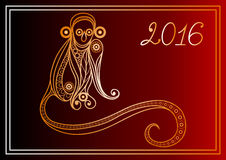 Monkey 29. Vector illustration of fire monkey, symbol of 2016. Silhouette of ape, decorated with floral pattern. Vector element for New Years design Stock Image
