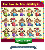 Monkey. Visual Game for children. Task: find two identical monkey! Answer: 5 and 13 Stock Photos