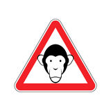 Monkey Warning sign red. Primacy of Hazard attention symbol. Dan Royalty Free Stock Photo