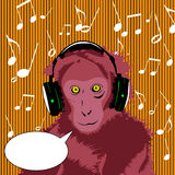 Monkey wearing headset with speech bubble Royalty Free Stock Photos
