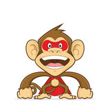 Monkey wearing superhero suit. Clipart picture of a monkey cartoon character wearing superhero suit Stock Photo