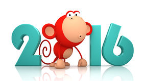 Monkey and 2016 on white background Vector Illustration