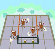 Monkey window washers Stock Photography