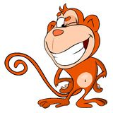 Monkey winks. Cartoon illustration of funny winking monkey Stock Image