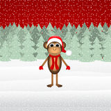 Monkey in winter forest Christmas Royalty Free Stock Photo