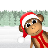 Monkey in winter forest Christmas Stock Photography