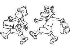 Monkey and wolf, coloring Stock Images