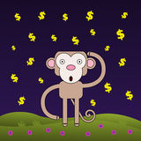 Monkey wonders wealth Royalty Free Stock Photography