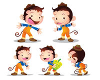 Monkey worker character. Vector illustration cute monkey worker character many  actions Stock Photography