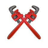 Monkey Wrench Cross. Red wrenches crossed. White background royalty free stock photo