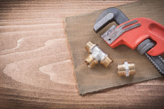 Monkey wrench pipe fittings mesh filter grid Royalty Free Stock Images