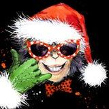 Monkey year. Cool monkey party.  watercolor illustration. Monkey Santa Claus. Stock Photography
