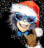 Monkey year. Cool monkey party.  watercolor illustration. Monkey Santa Claus. Royalty Free Stock Photography