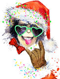 Monkey year. Cool monkey party.  watercolor illustration. Monkey Santa Claus. Stock Photo