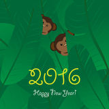 Monkey Year 2016 greeting card, vector design Stock Photos