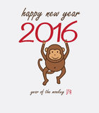 Monkey year. Happy New Year. 2016 Year of the Monkey stock illustration