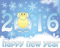 Monkey with a year. Holiday card for the new 2016 with a monkey in blue tones Royalty Free Stock Images