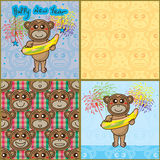Monkey year love banana card seamless pattern Stock Images
