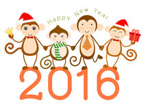 Monkey year. Vector for new year card 2016. Year of the monkey with four cute character of monkeys on white background Royalty Free Stock Photo