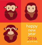 Monkey year. Wise monkeys. Happy New Year. See no evil, speak no evil, hear no evil Royalty Free Stock Photos