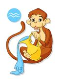 Monkey with a yellow jug Picture Royalty Free Stock Images