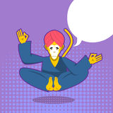 Monkey yoga. Monkey yogi meditates. Yogi in pop art style. Yello Royalty Free Stock Photo