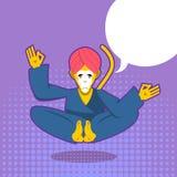 Monkey yoga. Monkey yogi meditates. Yogi in pop art style. Yello Royalty Free Stock Photo