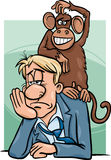 Monkey on your back cartoon Stock Image